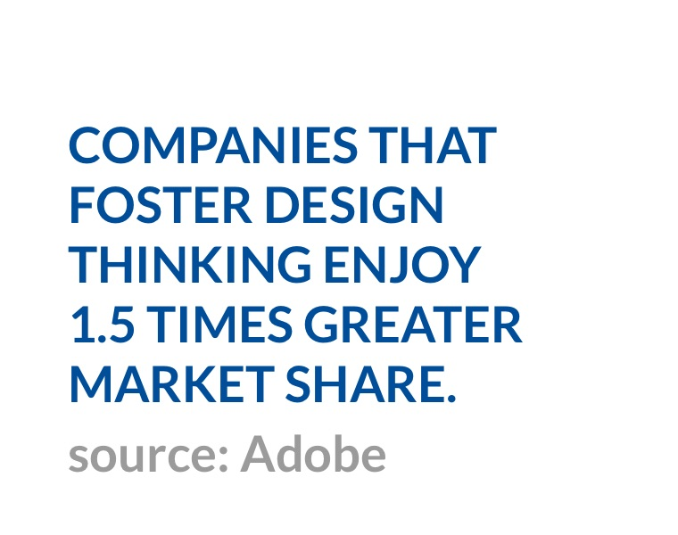 Companies that foster design thinking enjoy 1.5 times greater market share. (source: Adobe)