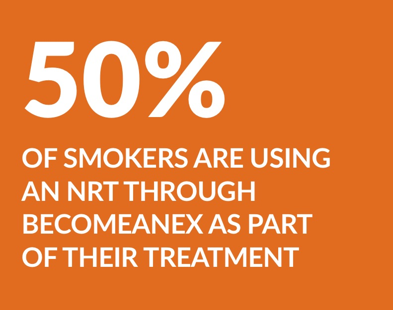 50% of smokers are using an NRT through BecomeAnEx as part of their treatment
